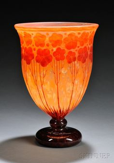 *LE VERRE FRANCAIS ~ Cardimine Cameo Glass Vase, Ar, designed by: Charles Schneider, France, c. 1925 - 1927, Wide mouth on goblet-form body cameo decorated w/ land cress in deep orange on a mottled orange ground shading to circular base in brown, marked Le Verre Francais, ht. 12 1/4 ""
