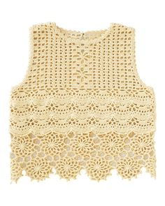 Pattern is Japanese but fully charted using standard knitting and/or crochet symbols. For help using Japanese charted patterns, please visit the Japanese knitting & crochet group. Gilet Crochet, Crochet Crop Top, Crochet Blouse, Easy Crochet, Crochet Lace, Crochet Stitches, Crochet Hooks, Crochet Patterns, Crochet Vests