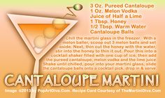 CANTALOUPE  MARTINI Martini Recipes, Beverages, Drinks, Lime, Cocktails, Cupcakes, Lima, Cupcake, Cocktail