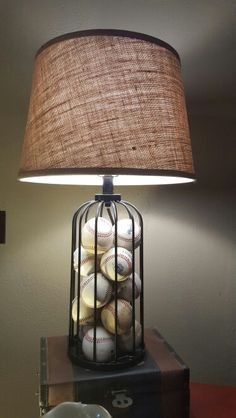 Clear Lamp Base Filled With Baseballs Lamp Can Be Found