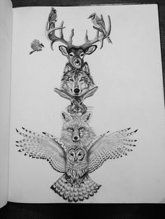 Animal totem Pole drawing art... Want this as sleeve…