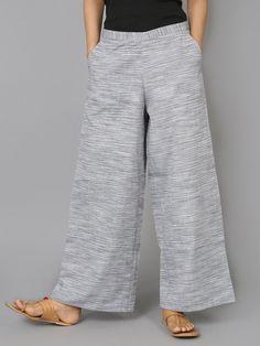 Grey with White Stripes Cotton Palazzo - The Wooden Closet Wide Trousers, Trouser Pants, Stylish Dress Designs, Stylish Dresses, Formal Pants Women, Pants For Women, Pallazo Pants Pattern, Salwar Pants, Wooden Closet