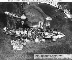 1943 World War 2 Photo-Pearl Harbor-USS Oklahoma Refloats after Japanese Sinking Pearl Harbor 1941, Pearl Harbor Attack, Uss Arizona, Pearl Harbor Pictures, Majdanek Concentration Camp, Uss Oklahoma, Remember Pearl Harbor, Us Battleships, Navy Ships