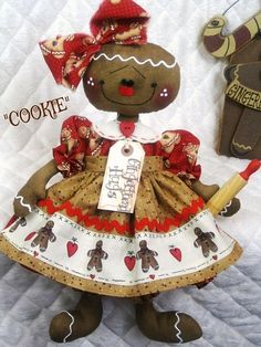 Primitive Lg. Raggedy Gingerbread Doll by GingerCreekCrossing