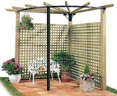 The pergola kits are the easiest and quickest way to build a garden pergola. There are lots of do it yourself pergola kits available to you so that anyone could easily put them together to construct a new structure at their backyard. Diy Pergola, Corner Pergola, Backyard Privacy, Outdoor Pergola, Cheap Pergola, Wooden Pergola, Deck With Pergola, Pergola Shade, Backyard Patio