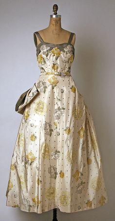 "Silk evening dress (front) by Pierre Balmain, French, 1951-52. Label: ""Pierre Balmain, Paris"""
