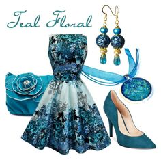 Teal Floral Fashion for Spring 2016 by blukatdesign on Polyvore featuring polyvore, fashion, style, Nine West, clothing, jewelry and handmade