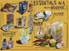 Essentials in a Pendemic. Daily drawing practice collected into one poster.