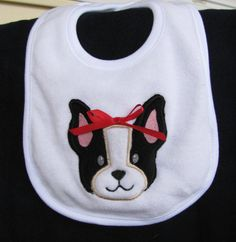 Applique Embroidery Boston Terrier Baby Bib by EmbroiderybyAlison, $13.00