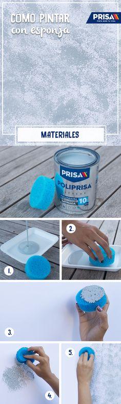 Una esponja + pintura de tu color favorito + pared lisa = Una textura increíble.