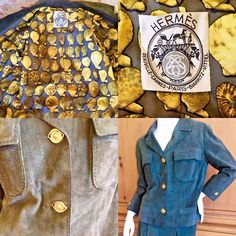 "Hermes Paris Vintage 1960 Green Suede Suit w ""Cleopatra Eye"" Buttons Scarf Lined #Hermes #SkirtSuit"