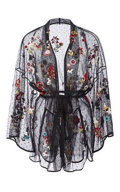Fancy Flower Embroidered Point D'espirit Kimono by RED VALENTINO for Preorder on Moda Operandi Source by nympholepsy Kimono Floral, Floral Jacket, Kimono Jacket, Black Kimono, Kimono Style, Print Jacket, Luxury Lingerie, Sexy Lingerie, Cl Fashion