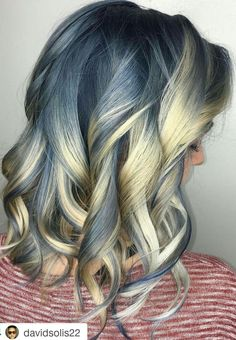 Blue blonde ombre dyed hair color #pastel inspiration