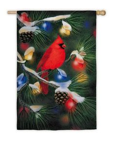 "Regular Sized Silk Reflections Flag: Christmas Cardinal by House-Impressions. Save 36 Off!. $20.26. Original design © 2011 Loren Guttormson. All Rights Reserved. Licensed by the Intermarketing Group. 29"" x 43"". A flag is the greeting card of your home. Great for yourself or as a gift. Silk Reflections Flag. With his wings outspread and his red feathers stealing attention, this cardinal perches upon an evergreen bough, holding a ribbon in his beak. At its end, a red glass ball ornament adds…"