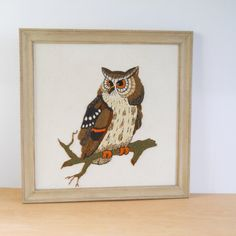 Check out this item in my Etsy shop https://www.etsy.com/listing/487709456/vintage-crewel-owl-large-framed-1970s