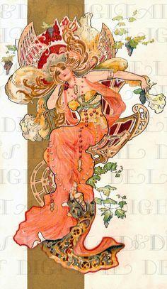 Extravagant Jeweled In Peach Art Nouveau Lady. Vintage Digital | Etsy
