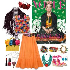 Frida Kahlo by bykatiegirl on Polyvore featuring Nine West, Aqua, Bee Charming, Venessa Arizaga, Cobra & Bellamy, Adele Fado, Armani Privé, OPI and fridakahlo