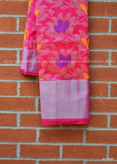Pink Kuppadam Pure Pattu Saree with Rich Silver Floral Weave all over