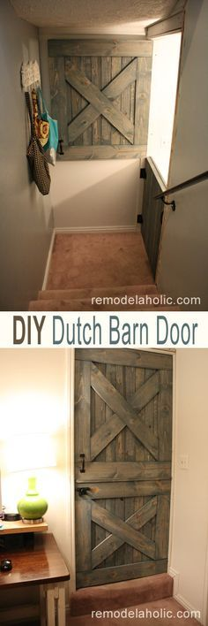 "Make this DIY Dutch Barn Door  Plans and instructions! I would love the bottom half of these for the upper and lower of the stairs for a ""baby gate"", plus, when the kiddos get older, it would be a ""gate"" for people to NOT go upstairs . looks better than a normal baby gate"