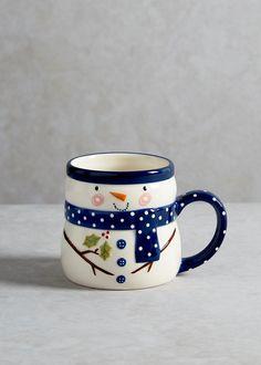 Handpainted Snowman Christmas Mug (9cm x 8cm)
