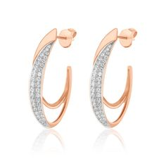 Diamond Earrings Hoop Micro Pave Genuine Solid Rose Gold Ladies Womens - March 02 2019 at Diamond Earing, Diamond Hoop Earrings, Circle Earrings, Silver Hoop Earrings, Diamond Studs, Diamond Jewelry, Stud Earrings, Diamond Earrings Indian, Earings Gold