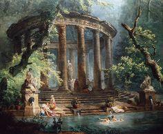 loumargi:  The Bathing Pool (detail), ca. 1753, Hubert Robert