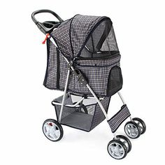 Oxgord Pet Stroller Cat/Dog Easy Walk Folding Travel Carrier Carriage, Plaid Blue >>> Learn more by visiting the image link.