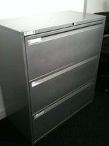 large silver finish 3-drawer side-filers some 1000mm wide others 900mm