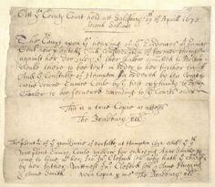 Vintage Ephemera: Original written testimony from the Salem witch trials, 1600's