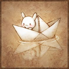 Rabbit, paper boat.