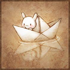 bunny paper boat