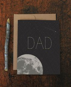 father's day card / birthday card for dad / stellar dad / moon by Modern Printed Matter