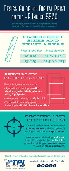 Design Guide for Digital Print on the HP Indigo 5500 #infographic #graphicdesign for #print