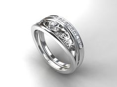Torkkeli Heart Filigree engagement ring set with Diamonds