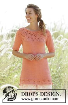 """Knitted DROPS tunic with lace pattern, vents in the side and round yoke in """"Paris"""". Free Pattern"""