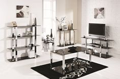 Mountrose Broadway black glass living room range - turn your home into an inspired New York apartment. Features a distinctive black glass with chrome legs that sure make this stand out in the crowd. http://www.home-outlet.co.uk/catalogsearch/result/?q=broadway