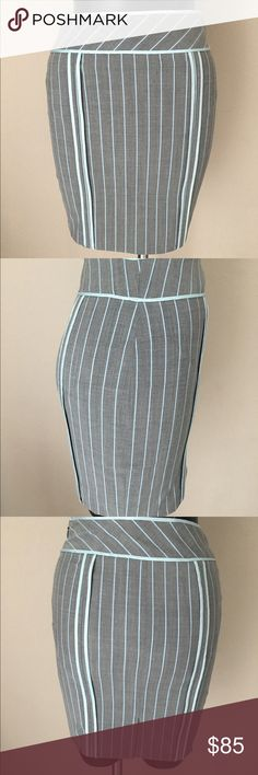 """Moschino pencil skirt Gray aqua size 4 Moschino pencil skirt - Size 4. Preowned pristine condition like new. Matching jacket in separate listing will consider selling together. See last picture for jacke.   • Completely lined • Back middle slit • Hidden side zipper • Lining 100% Cotton  • 92% wool / 6% nylon, 2% other fibers / Lining 100% Silk  • Slim silhouette • Waist 24""""  • Hips 30"""" • Over all length 17"""" • Made in Italy • Dry clean • By Moschino    Visit our EBay store for more…"""