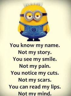 Minion name pain story mind. See my Despicable Me Minions pins Minion name pain story mind. See my Despicable Me Minions pins Funny Minion Memes, Minions Funny Images, Minion Pictures, Minions Love, My Minion, Minions Quotes, Purple Minions, Memes Humor, Minion Stuff