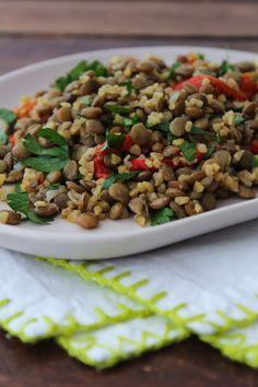 Salada de lentilha e bulgur
