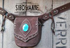 Items similar to CHRYSOCOLLA: Leather Utility Belt - Festival Belt with Chrysocolla Stone by Sibo Yanke. on Etsy Leather Jewelry, Leather Craft, Leather Purses, Leather Bag, Festival Accessories, Bag Accessories, Leather Tooling, Leather Carving, Leather Utility Belt