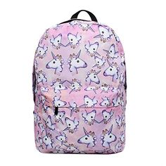 8ecabff631 Bonama Pink Unicorn Rainbow Bag Fantasy Backpack Rucksack School Student  Travel Bags (Pink) Unicorn