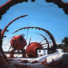 Simon Stålenhag Art Gallery    I love this. It is Sweden - with robots.