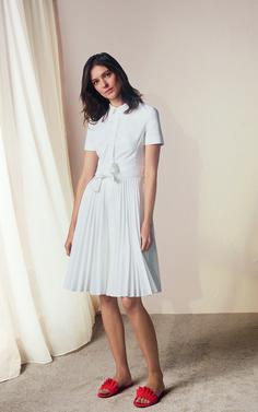 Karen Millen, PLEATED SHIRT DRESS White