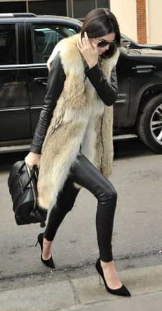 fur coat and leather leggings