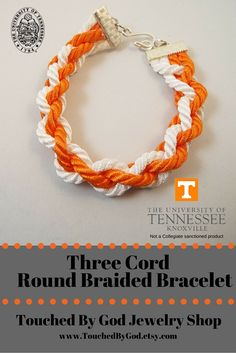 #Etsy #Jewelry #Bracelet #Handcrafted #Round #Braided #Cord #Orange #White #Collegiate #Football #Sport - #UT #Vols - Go Big Orange -University of #Tennessee - This is a simple multi-colored 4-strand round braided bracelet. This piece will make a great gift for any woman in your life who is a University of Tennessee fan! Change out any colors to match your favorite college or professional team. For ladies who want jewelry as fabulous as they are! Visit my shop @ www.TouchedByGod.etsy.com!