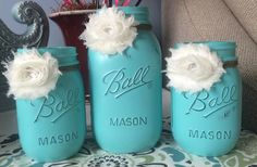 """Painted mason jar set. Perfect centerpiece for all occasions. Painted with """"Breakfast at Tiffany's""""  by Ms Lillians Chock paint by JenmarksCraftyShop on Etsy"""