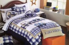 Authentic Kids Construction Work Trucks Twin Quilt Set - back in stock in a new color.  We have pillows and sheets to match, too! #boysbedding #kids #bedrooms