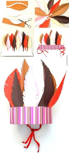 Paper feather headdress