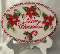 Hand Painted Christmas Sign Cottage Chic Poinsettia Shabby Lace HP w/stand