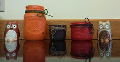 More Autumn/Harvest themed jars! Owls not included! Upcycling Projects, Autumn Harvest, Farmhouse Chic, Owls, Mason Jars, Upcycle, Rustic, How To Make, Crafts